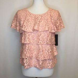 Zara basic medium pink lace tiered shirt